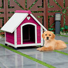 Wooden Princess Dog House Large/ Medium Pet Shelter Weather Resistant Pink