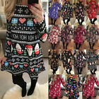 UK Size 6-22 Womens Xmas Christmas Santa Long Sleeves Ladies Snowman Paty Dress