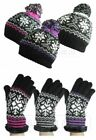 NEW WOMENS LADIES WINTER KNITTED FAIR ISLE BOBBLE POM POM HAT & GLOVES SET GIFT