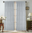 1 SET SHABBY CHIC SHEER CURTAIN PANEL MULTILAYERED ROD POCKET WINDOW TREATMENMT