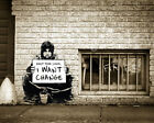 """BANKSY """"Keep your coins/Sepia"""" Street Artwork /Print on Glossy Paper or Canvas"""