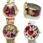 Ladies Novelty HEARTS LOVE Stretch Elastic Band Fashion Watch Versales VS1 image