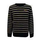 Official Guinness Crew Neck Sweater with Cross Stitch, Grey and Black Stripes