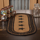 Внешний вид - Farmhouse Black/Tan Star Oval Jute Braided Country Cottage Table Runner 2 sizes