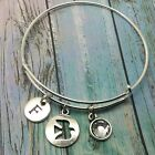 Personalised initial customised flying bird charm bangle bracelet with gift bag