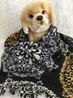 BLACK FLORAL , Fuzee Fleece Dog Blankets,Soft Pet Blanket Travel Throw Cover