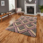 NEW MODERN LARGE THICK SOFT NOBLE HOUSE 100% ACRYLIC GREY / ROSE RUGS BY THINK