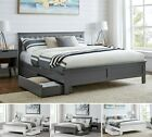 AZURE Wooden SINGLE DOUBLE KING White Grey Bed Frame Storage Drawers & Mattress
