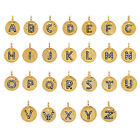 Natural Diamond Pave Initial Alphabet A to Z Charm Hammered Pendant .925 Silver