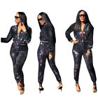 Внешний вид - Women Long Sleeve Colorful Sequins Shiny Zipper Bodycon Club Party Jumpsuit 2pc