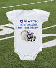 Los Angeles Chargers Onesie Shirt Helmet Design Love To Watch With Daddy $13.95 USD on eBay