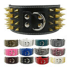 3 inch Wide Spiked Studded Dog Collar PU Leather Heavy Duty Adjustable Large Dog