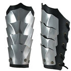 Pair Bracers Medieval Warrior knight stainless steel Armor Larp leather Goth