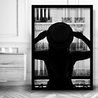 Woman in Hat in PARIS Window ART PRINT Black & White Photo Framed or Poster
