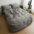 4pc Bedding Sets Cotton Blend Duvet Covers+Sheet+Two Pillow Cases Solid All Size image