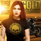"""Official """"GOLD"""" LIMITED EDITION Harley Davidson Chrome Willy Biker Chick T-Shirt $39.16 USD on eBay"""