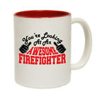 Funny Coffee Mug Christmas Birthday Gift - Firefighter Youre Looking Awesome