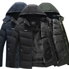 Men Warm Hooded Parka Winter Thicken Fleece Coat Outwear Jacket Overcoat Black