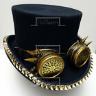 VINTAGE STEAMPUNK Top Hat with Goggle and Rivets Costume Men Victorian Navy D