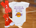Los Angeles LA Lakers Onesie Shirt Don't Bother Me Watching With Daddy on eBay