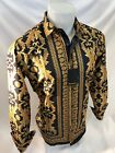 Mens PREMIERE Long Sleeve Button Down Dress Shirt BLACK GOLD LEAF ABSTRACT 202
