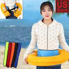 Multicolor Inflatable Belt Pack Waist Life Jacket Sailing Swimming w/ Whistle