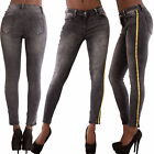Womens High Waisted Grey Slim Skinny Jeans Stretchy Side Striped Pants Size 6-14