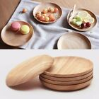 4.7/5.5/6'' Wooden Round Plate Food Snack Serving Breakfast Tray Salad Bowl