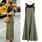 Women Sleeveless Cotton Linen Loose Wide Leg Jumpsuit Overall Long Trousers New