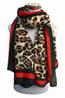 Large Leopard Print Patten Animal Brown tones Scarf with stripe wrap Scarf