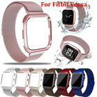 Kyпить For Fitbit Versa Watch Strap Magnetic Loop Stainless Steel Band w/ metal frame  на еВаy.соm