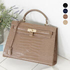 CELEBRITY CLASSIC KELLY BELTED TOTE SHOULDER CROSS BAG PURSE FAUX CROCO LEATHER
