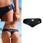 Womens Sexy Bikini Bottom Swimwear Brazilian Thong Heart Cut Out Bottoms Balck