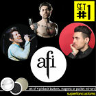 AFI SET OF 4 BUTTONS or MAGNETS or MIRRORS davey havok a fire inside badge #1990