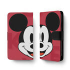 Red Mickey Mouse Head Cartoon PU Leather Full Print Flip Wallet Phone Case Cover