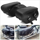 Black/Brown Cool PU Leather Pair Motorcycle Luggage Saddlebags For Harley Honda $59.99 USD on eBay