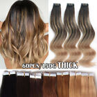 60PCS 150G Remy Tape in Real Human Hair Extensions Russian 12'-24' Ombre Thick F