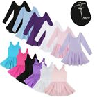 US Toddler Girls Ballet Dance Dress Tutu Skirt Cotton Leotard Dancewear Costume