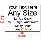 Custom Text Personalised Sticker Vinyl Decal Cars Windows Walls Laptop Up To A4