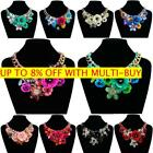 Jewelry Bib Statement Women Chain Crystal Necklace Chunky Flower Choker