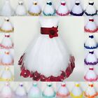 White Tulle Rose Petal Dress Easter Birthday Spring Summer Pageant Satin 24