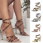WOMENS HIGH STILETTO STRAPPY HEELS LEOPARD CASUAL PARTY CLUBWEAR SHOES 4Colors R