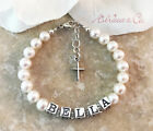 Real PEARL Newborn Baby NAME BRACELET with Cross Charm Baptism Christening Gift