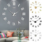 Mute Diy Frameless Large Wall Clock Roman Numerals 3d Mirror Sticker Home Office