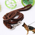 Braided Genuine Leather Dog Lead Large Dogs German Shepherd Walk Training Leash