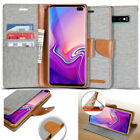 For Galaxy S20+,S10+Plus, Note10+ Canvas slim leather wallet Case magnetic Cover