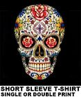 SUGAR SKULL DAY Of THE DEAD Dia De Los Muertos GOTH ROSES CROSS T-SHIRT WS94