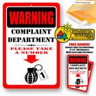 Warning Complaint Department Please Take A Number Man Cave Metal Decor Tin Sign