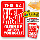 Self Cleaning Kitchen Clean Up After Yourself Metal Decor Tin Sign Novelty Gifts