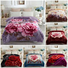 "Soft Warm Korean Style 2 Side Printed Raschel Bed Blankets 77"" x 87"",5lb image"
